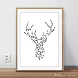 Animals Art Poster Print The Lines Deer Minimalism Wall Decor Pictures Painting Home Decor Poster Canvas Unframe 16 24 36 47 Inches