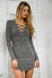Wholesales European and American sexy style grey knitting bodycon dress with decorative strips in chest fashion