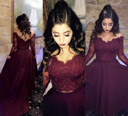 Sexy V neck Pearls Lace Burgundy Prom Dresses Long Sleeves Formal Evening Gowns Elegant Party Dress Bridesmaid Sweep Train Vestido de fiesta