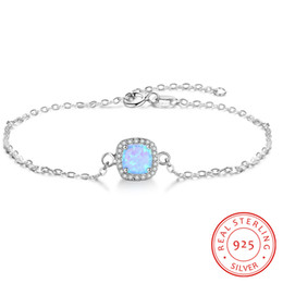 2019 blue opal chain design sterling silver bracelet cheap fashion High Quality Female Exquisite Trendy fine jewelry accessories