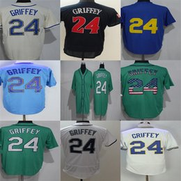 Factory Outlet Seattle 24 Ken Griffey Jr Green Beige White Blue Black Mens Womens Kids Toddlers Stitched Baseball Jersey With 40th Patch