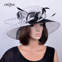 Wide brim WHITE BLACK wo tone Sinamay Wedding Hat fascinator with ostrich feather for Kentucky Derby,church and wedding.shipping by EMS
