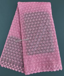 5 yards pink African cord lace guipure lace fabric high quality plain shade