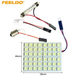 FEELDO White 48SMD 5050 Chip Car LED Light with 3 Adapters T10 BA9S Festoon Dome Bulbs #3335