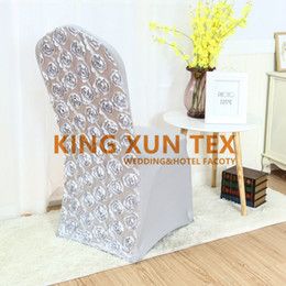 New Design 3D Satin Rosette Lycra Spandex Chair Cover For Wedding And Event Decoration Fast Door Shipping
