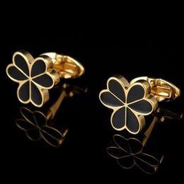 New golden enamel leaf shaped shirt cufflinks French male studded nail cufflinks High-end business buttons free shipping
