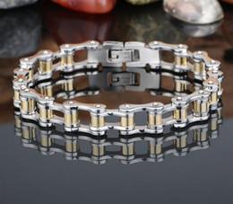 Fashion Stainless Steel gold Bracelet Men Women Biker Bicycle Motorcycle Chain titanium steel lover Bracelets Bangles Jewelry 17cm-22cm
