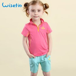 Wisefin Baby Girls Summer Sets Clothing New Children Short Sleeve T-shirt+Pants Quick Drying Kids Baby Polyester Suit Girls