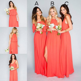 Coral Chiffon Mixed Bridesmaid Dresses 2019 Floor Length Wedding Party Dress for Beach Country Plus Size Custom Made
