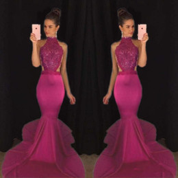 2K 17 Mermaid Top Selling Beaded Prom Dresses Sexy Backless Satin Formal Evening Gowns High Collar Girls Pageant Dress