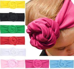New Baby Rose Cotton Blend Headwraps Winter Warm Turban Girls Tie Knot Headband Bandeau Bebe Christmas Gift