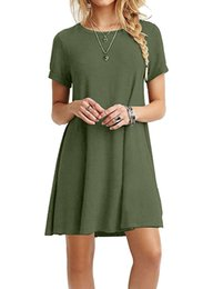 2018 Global hot sell pure color splice short sleeve simple casual dress Fashion, street recreation.tide