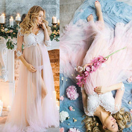 3 4 Long Sleeves Maternity Formal Evening Dresses Front Slit Lace Applique Tulle Empire Waist Pregnant Illusion Prom Party Dress BC0286