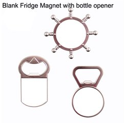 Sublimation heat press Fridge Magne with bottle wine opener + blank aluminium plate 100pcs lot