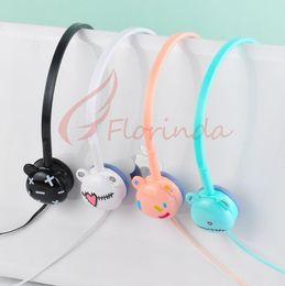 Auriculares con orejas de oso de dibujos animados para niños brillan plegable auriculares de música del teléfono móvil Auricular lindo con paquete al por menor de regalo de Navidad