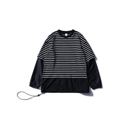 Fasion Men's T-Shirts Sport Casual Captain T-shirts Long Sleeve Spring Summer Fake Two Pieces Stripe Women Men T-Shirts Tops