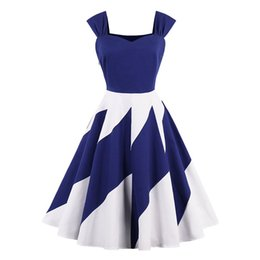 S-4XL Wave Patchwork Women Summer Dress V-Neck Sleeveless Hepburn Vintage Dress Rockabilly Dresses Sundress Plus Size Swing Vestido DK3071MX