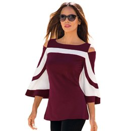 Womens Colorblock Bell Batwing Long Sleeve Cold Shoulder Top Fashion Blouses Lady Casual Shirts Drop Shipping DK0590BK