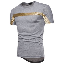 Men's T-shirt with bright horizontal stripes on the chest, stylish and comfortable casual men's T-shirt