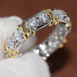 Wholesale Professional Eternity Diamonique CZ Simulated Diamond 10KT White&Yellow Gold Filled Wedding Band Cross Ring Size 5-11