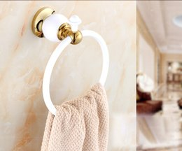 Wholesale And Retail Free Shipping Bathroom White Golden Painting Towel Rack Ring Holder Solid Brass Round Towel Ring Holder
