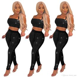 Black Sparkling Diamonds Women Sexy Two Piece Set Halter Strapless Crop Top  + Skinny Pants Night Club Outfits Fashion Suits 3691e0ed4