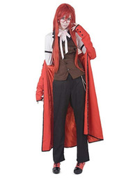 Black Butler Grell Sutcliff Cosplay Costume Long Coat with glasses