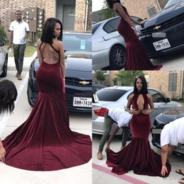 Burgundy Velvet Prom Dresses 2018 High Neck Backless Mermaid Long Plus Size Evening Gowns Black Girls Occasion Party Dresses