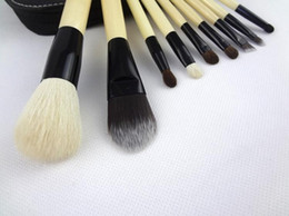 9Pcs set Make Up Cosmetic Brush Set Kit Makeup Brushes Wood Handle+Goat Hair + Leather Case free shipping