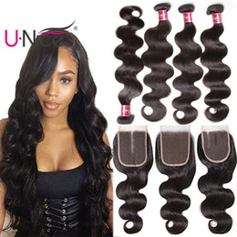 UNice Hair Body Wave 4 Bundles With Closure Raw Virgin Indian 100% Human Hair Extensions Remy Human Hair Weave Bundles With Lace Closure