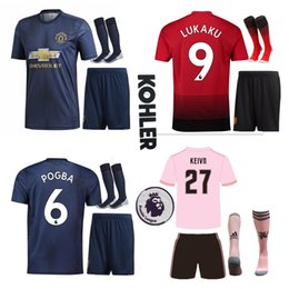 NEW Premier League ALEXIS LUKAKU POGBA MAN MARTIAL UTD LINGARD RASHFORD Soccer Jersey Custom Home Away Red Blue 18 19 Suit