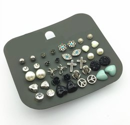 Multi Earrings Mixed With Different Studs From 4mm To 6mm Size 16PCS A Lot on Wholesale