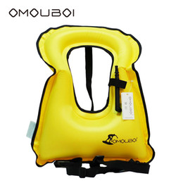 Safety Life Buoys Lightweight Yellow Inflatable Floating Buoys Over Neck Swim Wear Rapid Inflating Swim Ring For Adults By OMOUBOI