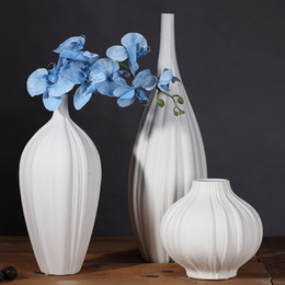 Design White Ceramic Creative Contracted Flower Vase Pot Home Decor Craft  Room Decoration Handicraft Porcelain Figurine Bedroom