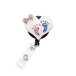Medical healthcare Heart footprint enamel ID Name Tag Badge reel