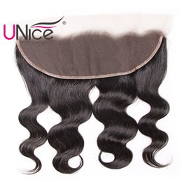 "UNice Hair Brazilian Body Wave 13""x4"" Lace Frontal Ear to Ear Free Part 100%Human Hair Lace Closure Natural Color Unprocessed Hair"