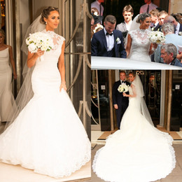 Elegant Sheer Mermaid Large Wedding Dresses Illusion Plus Size Lace Applique Tulle african Country Bridal Gown Train Bride Dress Custom