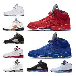 2018 5 5s Grapes Basketball shoes Men International Flight OG Black Metallic fire red Blue Suede White Cement trainer sports shoes us 8-13