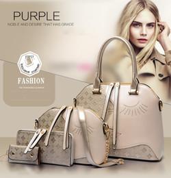 Designer Handbag 4PCS Sets Womens Tote Shoulder Office Bags,Black Brown Blue Golden 4 Colors For Wholesale