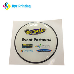 Best selling with nice effect for Black bottom white logo round epoxy sticker, custom 3d dome label sticker