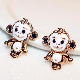 Cute Animal Monkey Shape Earrings for Women   Girls White Enamel Gold Plated Vintage Earrings Jewelry Accessories