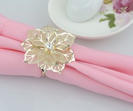 Best new Gold Metal Flower Napkin Rings for Wedding Banquet Table Decoration Accessories fast free shipping