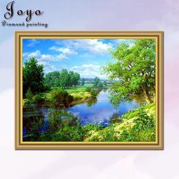 Joyo, diy diamondpainting cross stitch, woods, rivers, landscapes, home decor, beautiful design