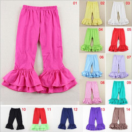 baby solid double ruffle legging children pants products imported from china wholesale