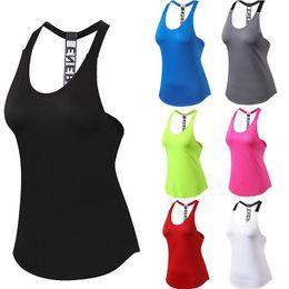 Female Tank T-shirt Dry Quick Yoga Sweater Loose Gym Sleeveless Women Sportwear Vest