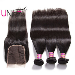 UNice Hair Malaysian Straight Bundles With Closure Free Part Closure Human Hair Extensions Hair Weaves With Closure Silk Top Cheap Wholesale