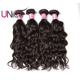 UNice Hair Virgin 4 Bundles Brazilian Natural Wave Human Hair Bundles Unprocessed Wholesale Cheap Human Hair Weave Bundle Wet And Wavy
