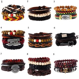 9 Stylels Retro Vintage Anchor Cuff Bracelet Wristbands Women Men Multilayer Genuen Leather 1Set  4PCS or 3PCS