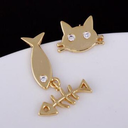 Fashion Austria Crystal Stud Earrings Girl's Animal Fish Cat Earrings Cute Jewelry Vintage Gold Plated asymmetric Earrings Brincos