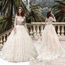 Vestido De Noiva Bateau Neck A Line Wedding Dresses Princess with Sash Long Sleeves lace Bride Casamento Wedding Gown Buttons Back